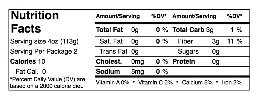 Skinny Noodles Macaroni Nutrition Facts