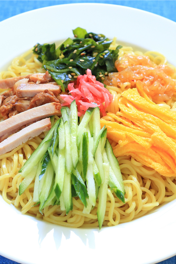 Chilled Ramen (Hiyashi Chuka) with Skinny Ramen