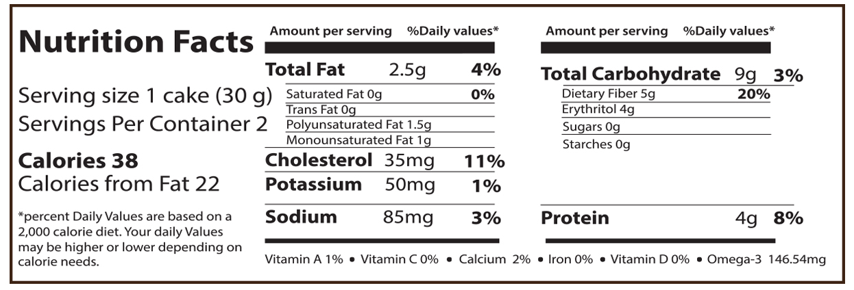 Tangerine SmartCake Nutrition Facts