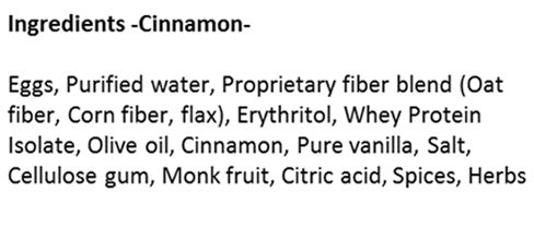 Cinnamon SmartCake Ingredients