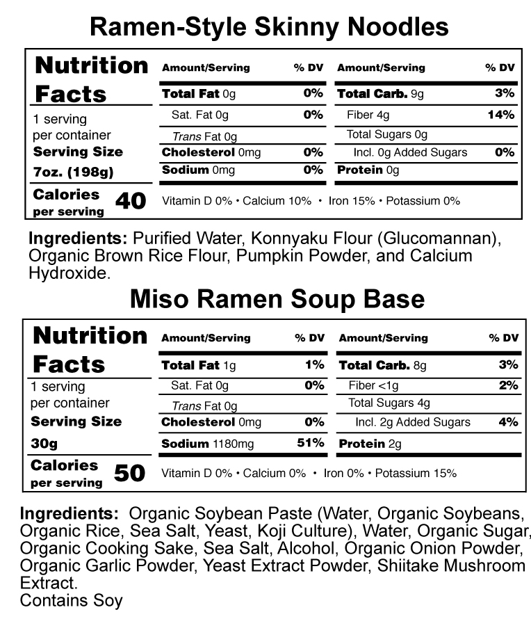 Ramen Style Skinny Noodles Nutrition Facts