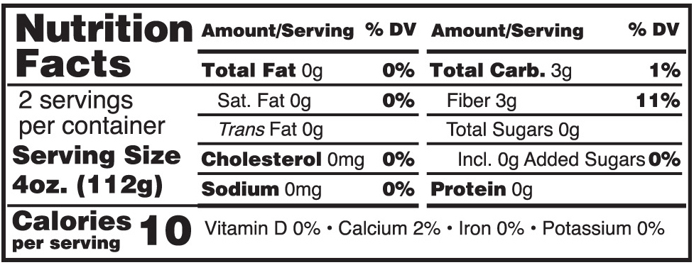 Skinny Noodles Shirataki Fettuccine Nutrition Facts