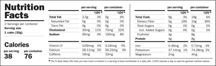 SmartCake Nutrition Facts